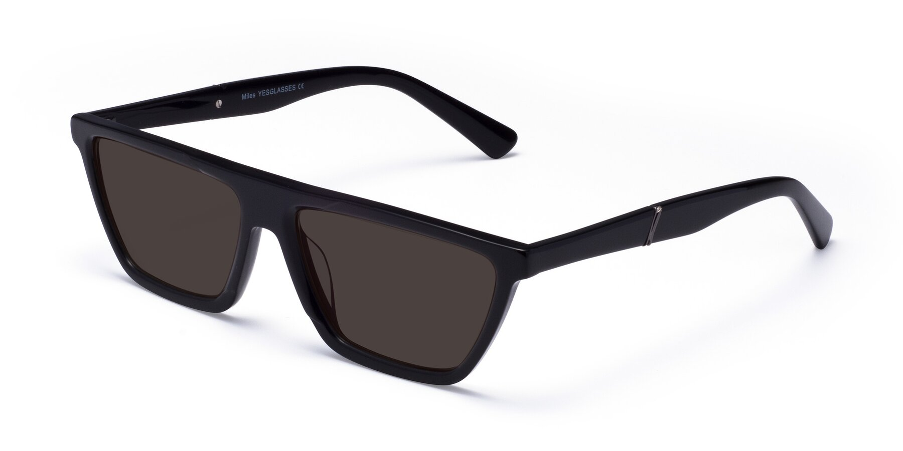 Angle of Miles in Black with Gray Tinted Lenses