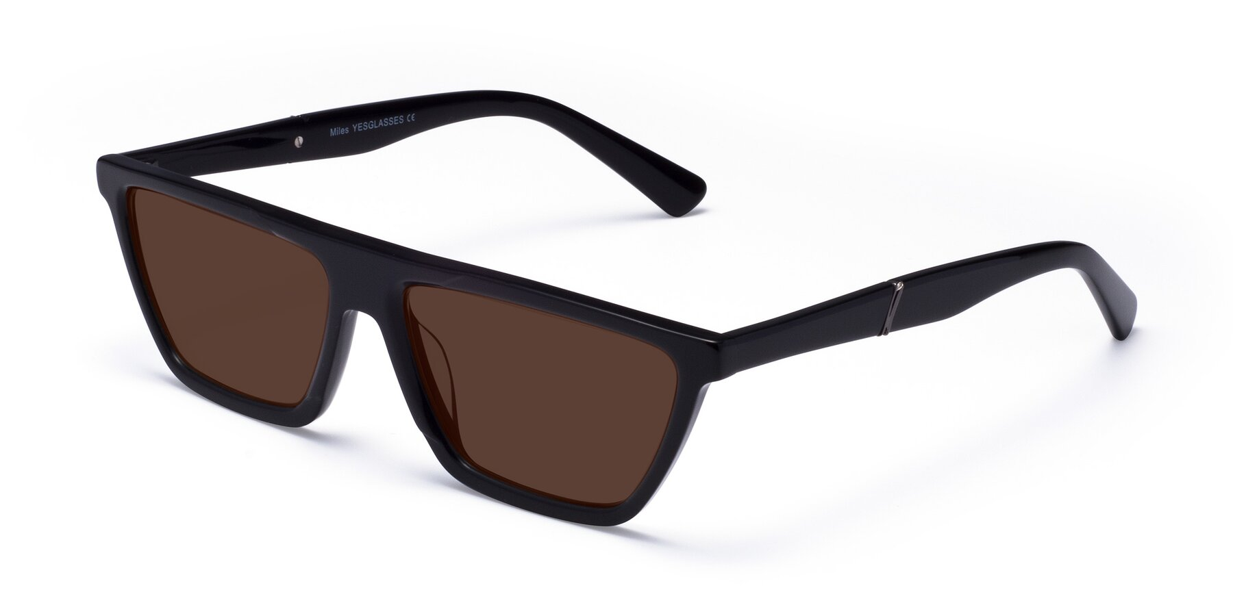 Angle of Miles in Black with Brown Tinted Lenses