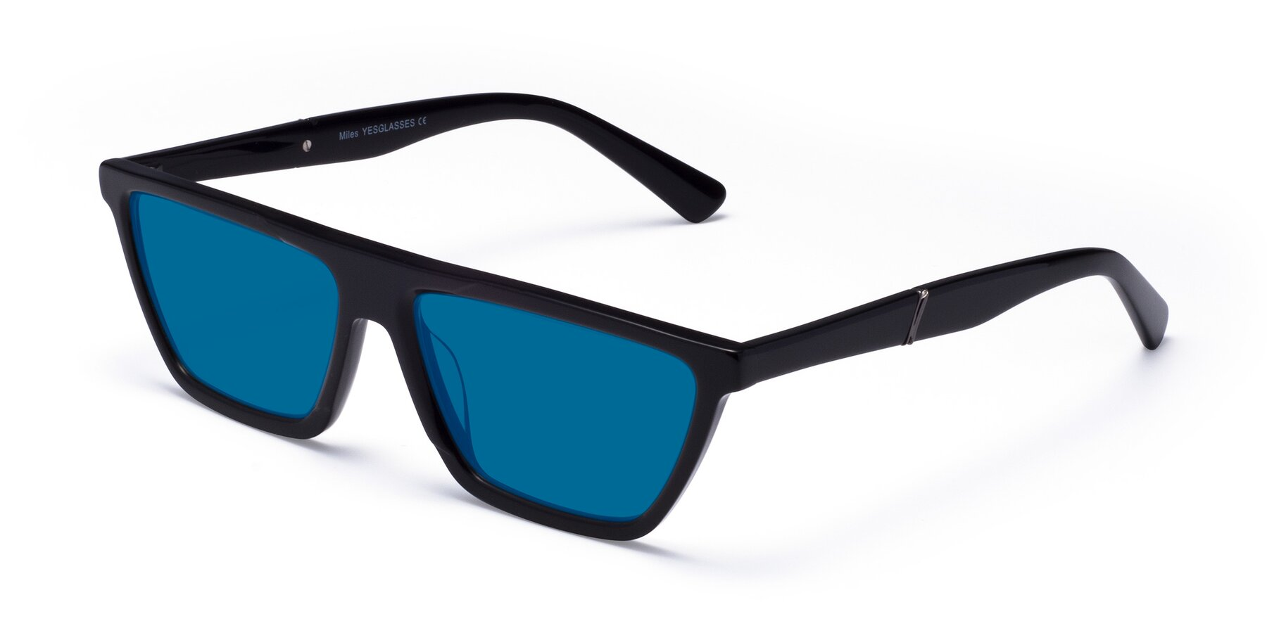 Angle of Miles in Black with Blue Tinted Lenses