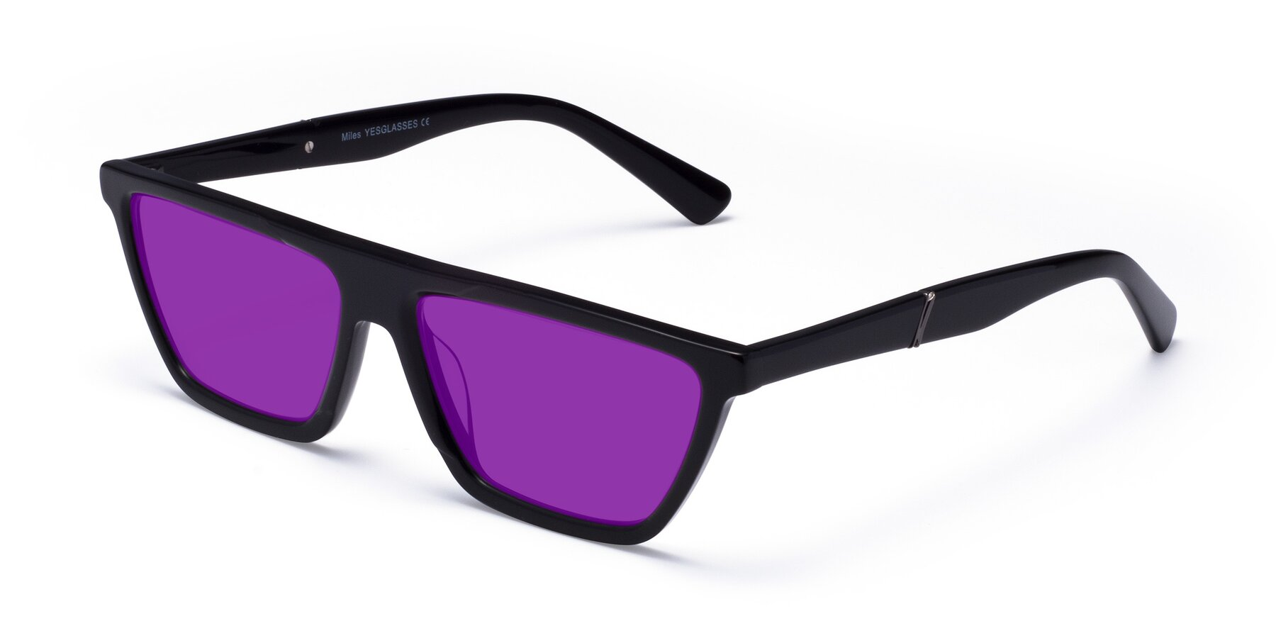 Angle of Miles in Black with Purple Tinted Lenses