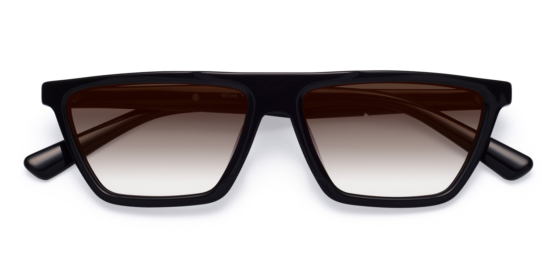 Folded Front of Miles in Black with Brown Gradient Lenses
