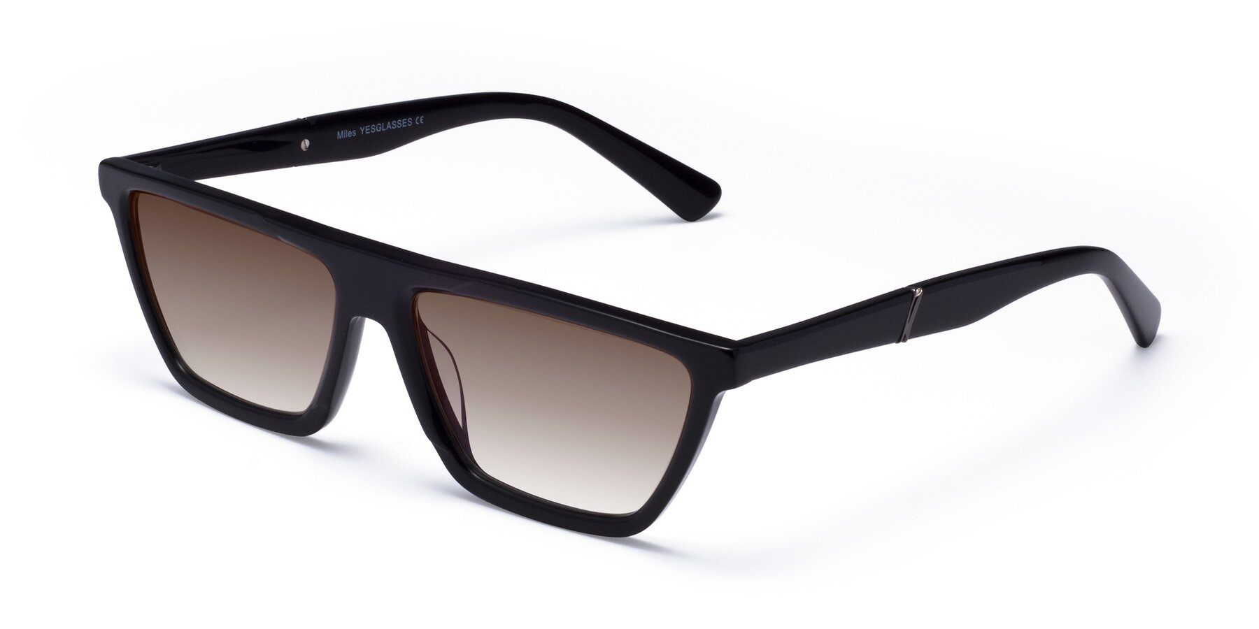 Angle of Miles in Black with Brown Gradient Lenses