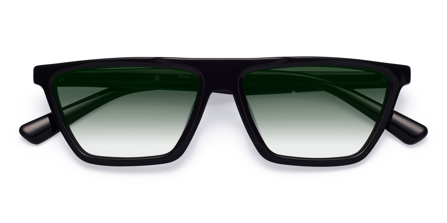 Folded Front of Miles in Black with Green Gradient Lenses