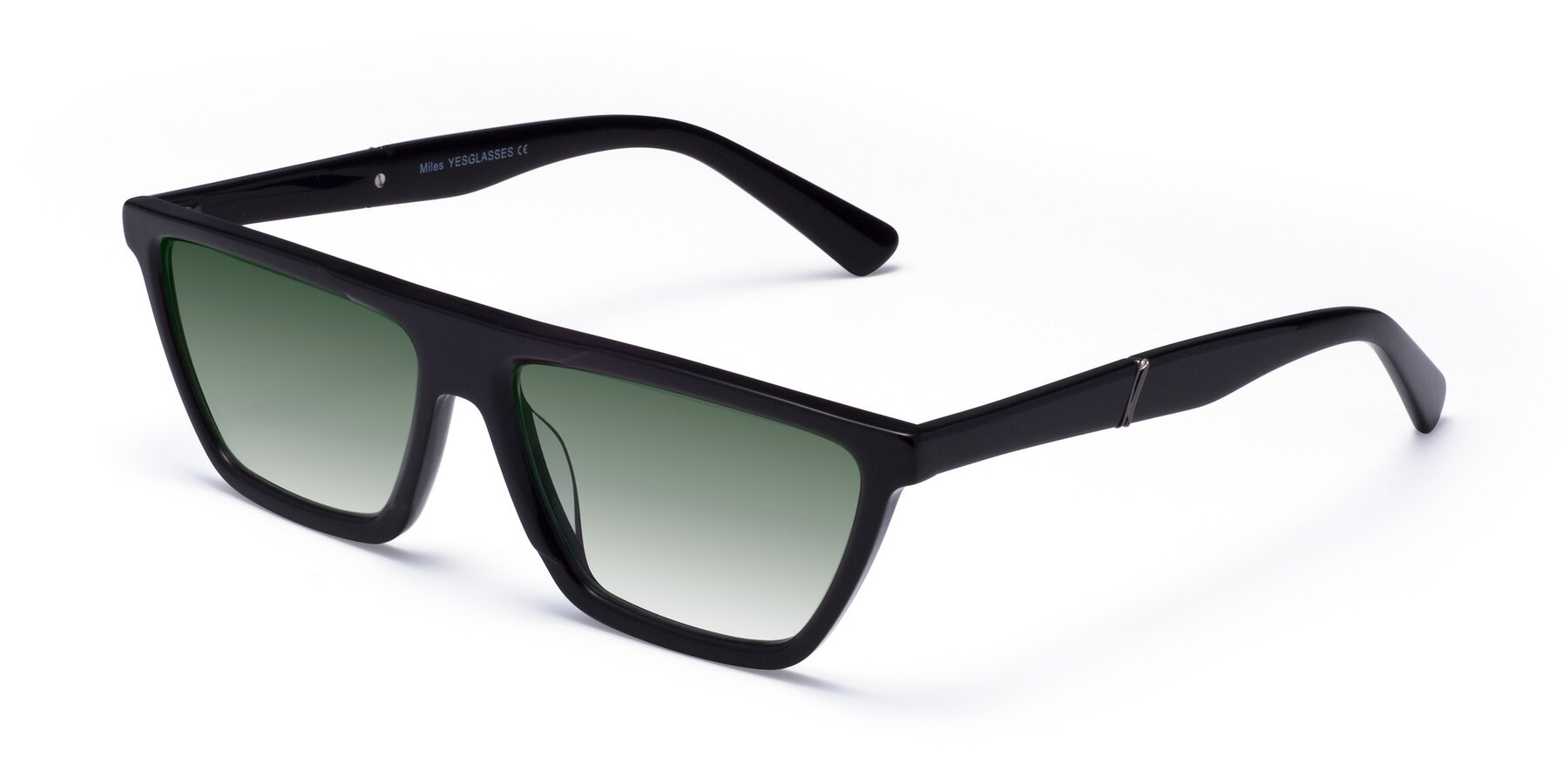 Angle of Miles in Black with Green Gradient Lenses