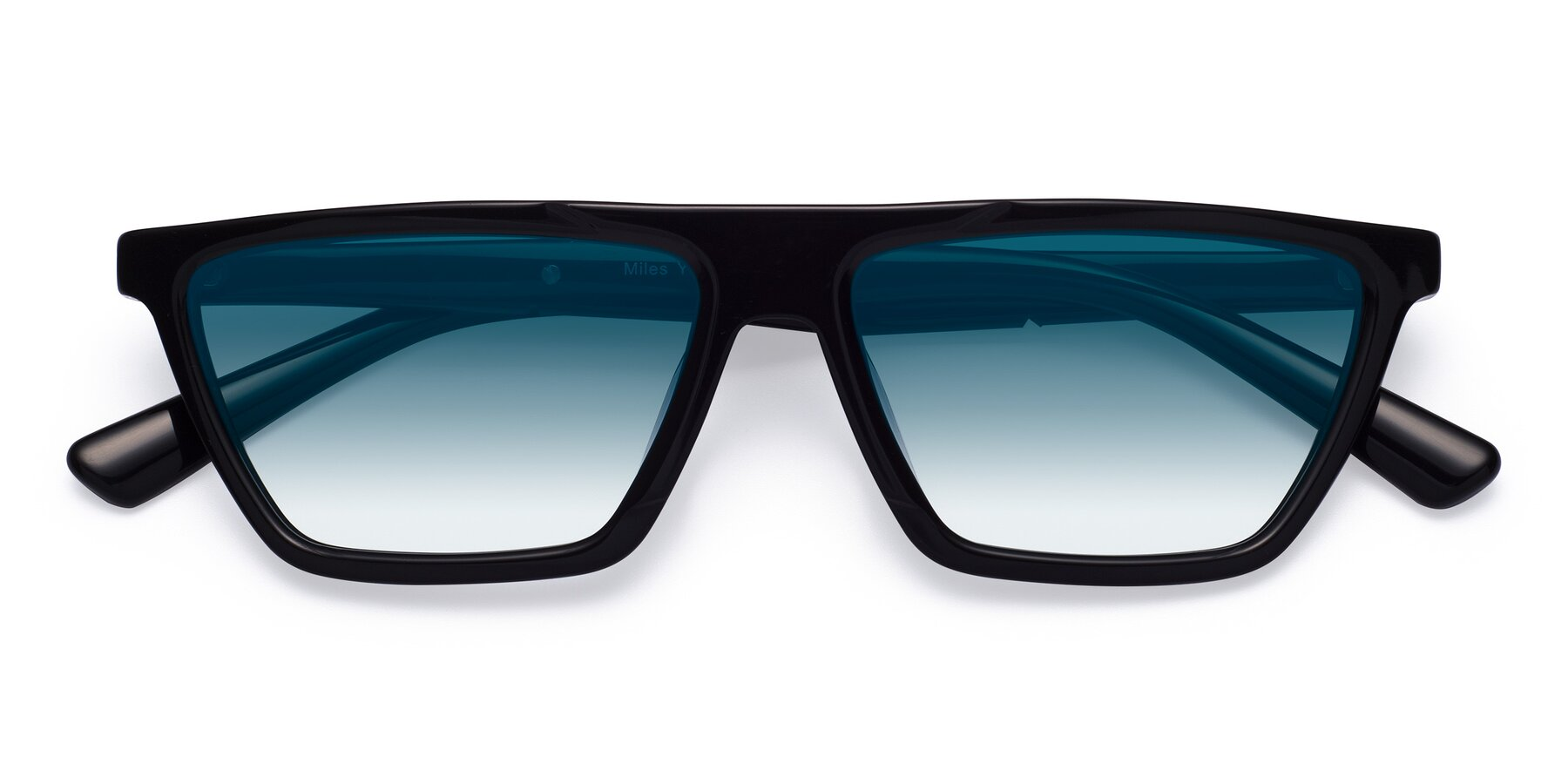 Folded Front of Miles in Black with Blue Gradient Lenses