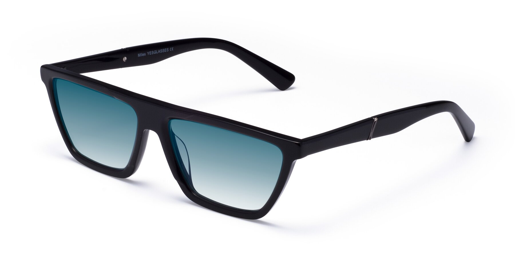 Angle of Miles in Black with Blue Gradient Lenses