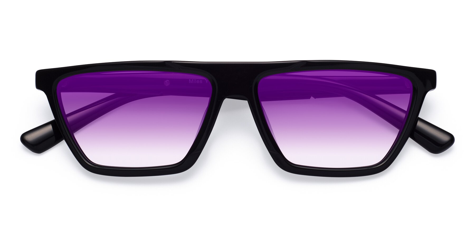 Folded Front of Miles in Black with Purple Gradient Lenses