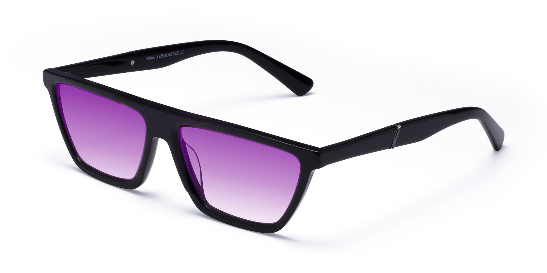 Angle of Miles in Black with Purple Gradient Lenses