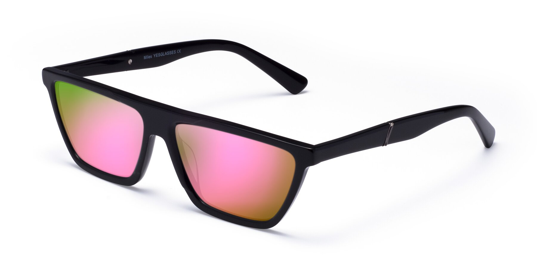 Angle of Miles in Black with Pink Mirrored Lenses