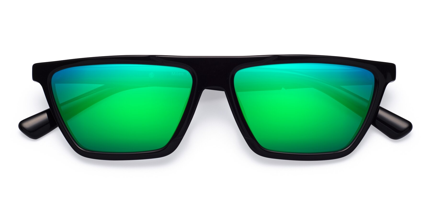 Folded Front of Miles in Black with Green Mirrored Lenses