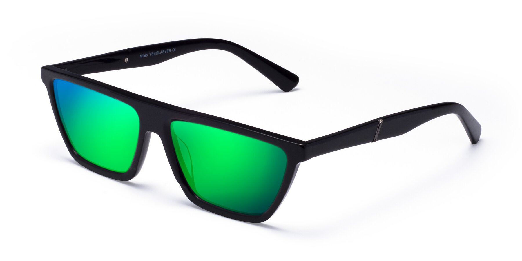 Angle of Miles in Black with Green Mirrored Lenses