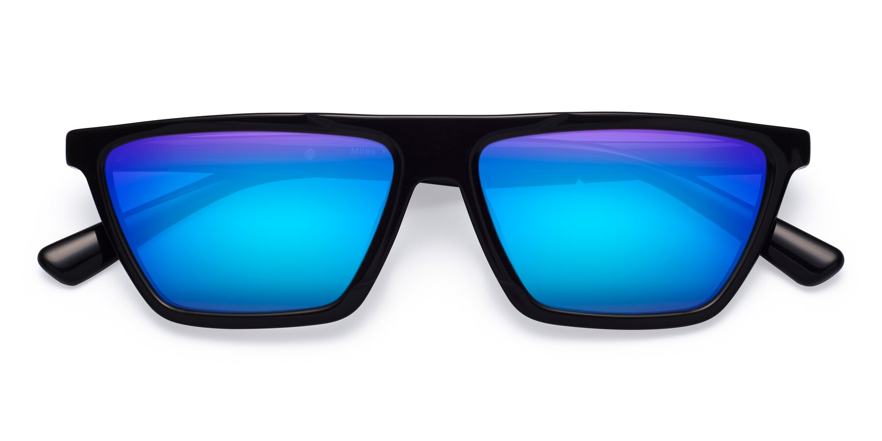 Folded Front of Miles in Black with Blue Mirrored Lenses