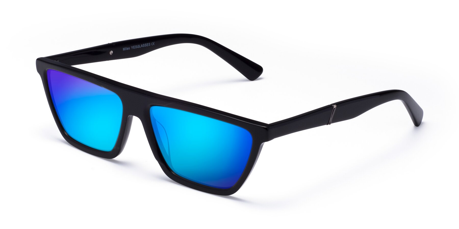 Angle of Miles in Black with Blue Mirrored Lenses