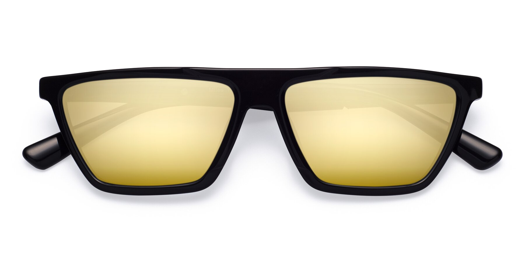 Folded Front of Miles in Black with Gold Mirrored Lenses