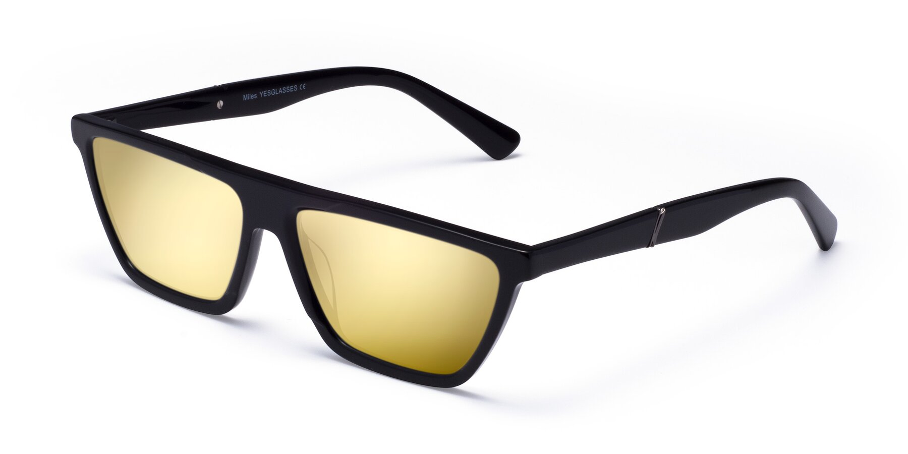 Angle of Miles in Black with Gold Mirrored Lenses