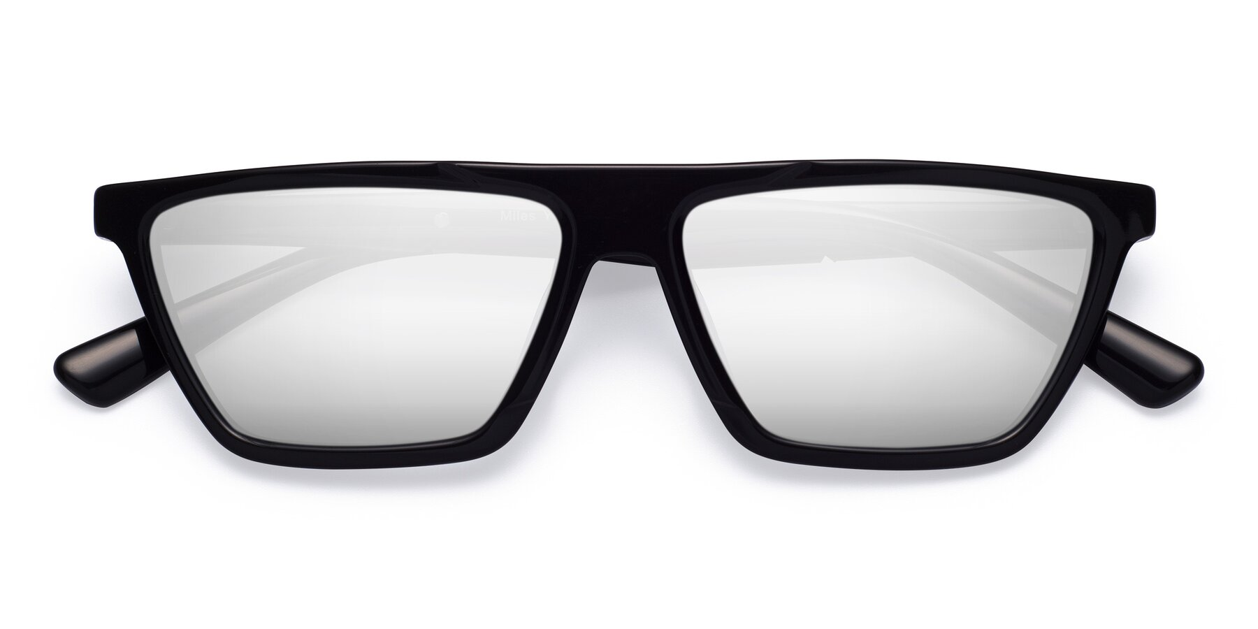 Folded Front of Miles in Black with Silver Mirrored Lenses