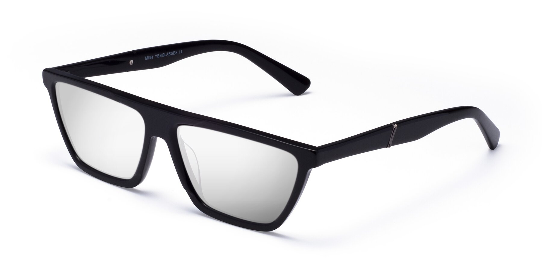 Angle of Miles in Black with Silver Mirrored Lenses