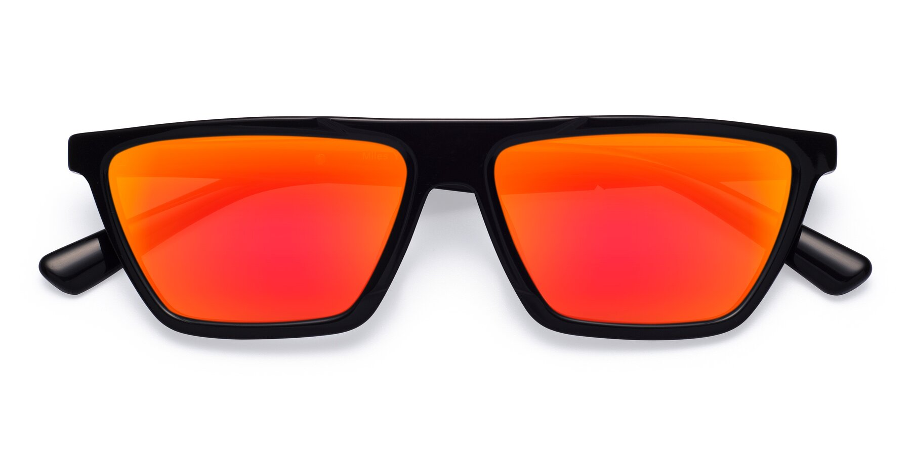 Folded Front of Miles in Black with Red Gold Mirrored Lenses