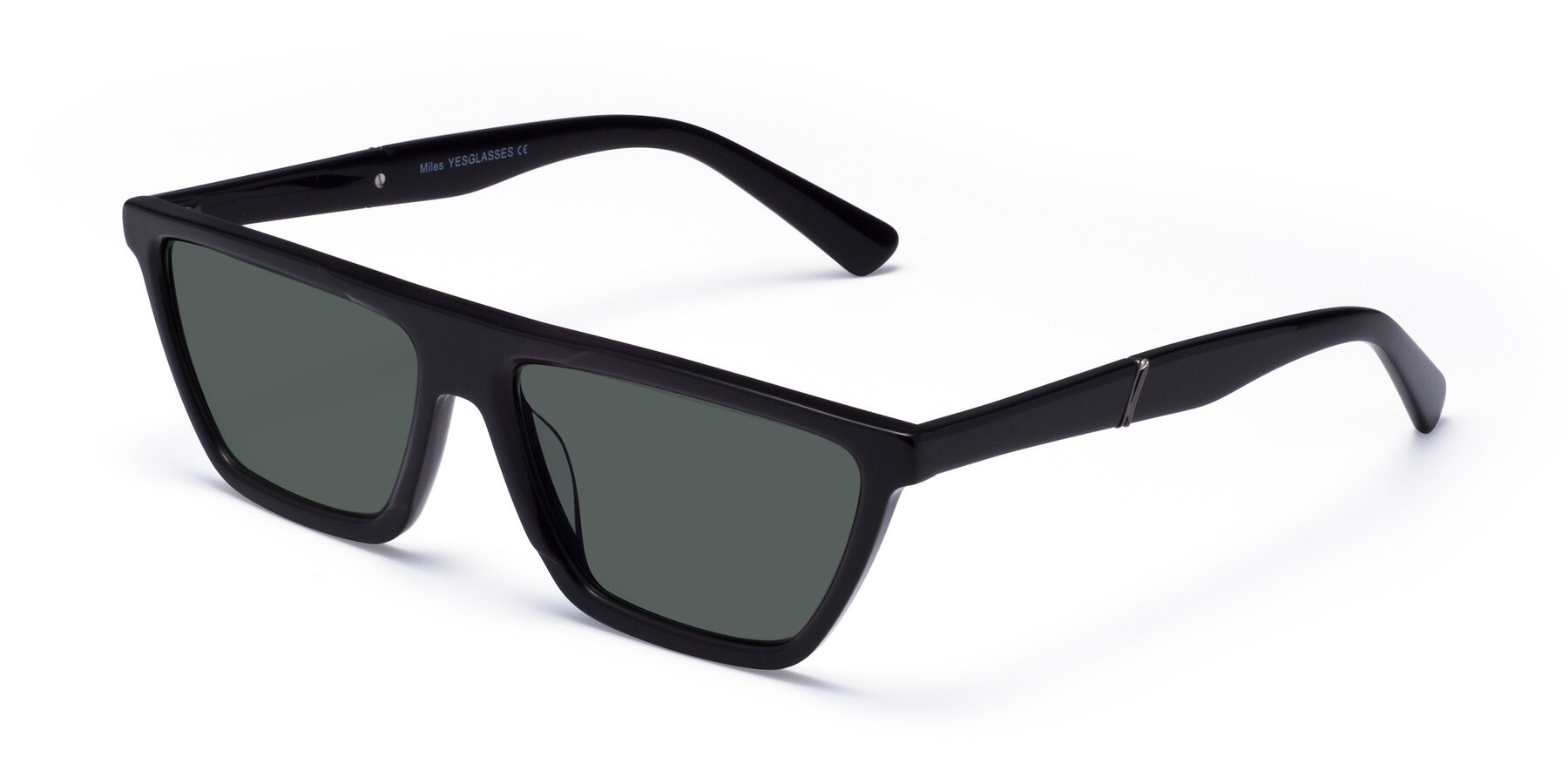 Angle of Miles in Black with Gray Polarized Lenses