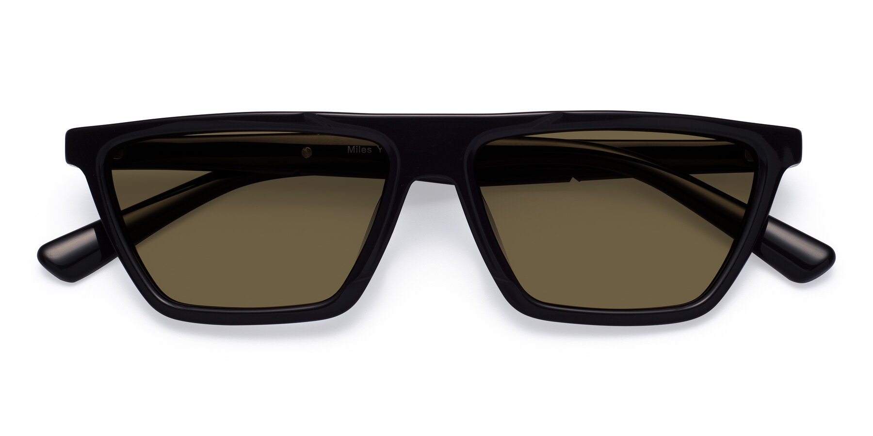 Folded Front of Miles in Black with Brown Polarized Lenses