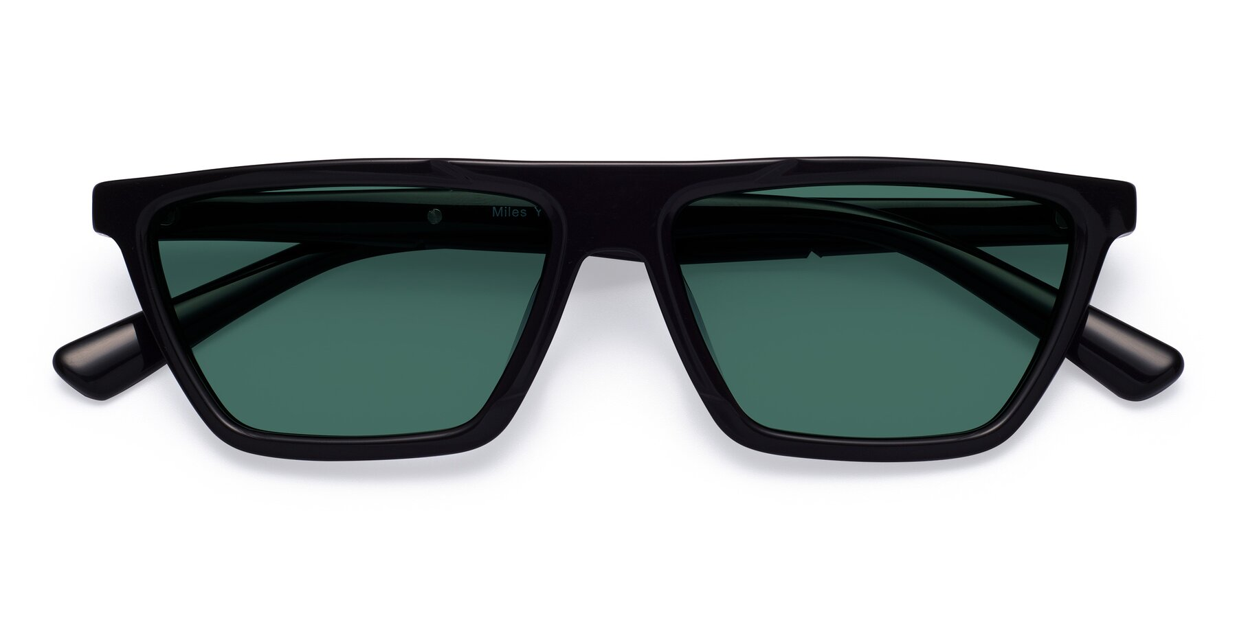 Folded Front of Miles in Black with Green Polarized Lenses