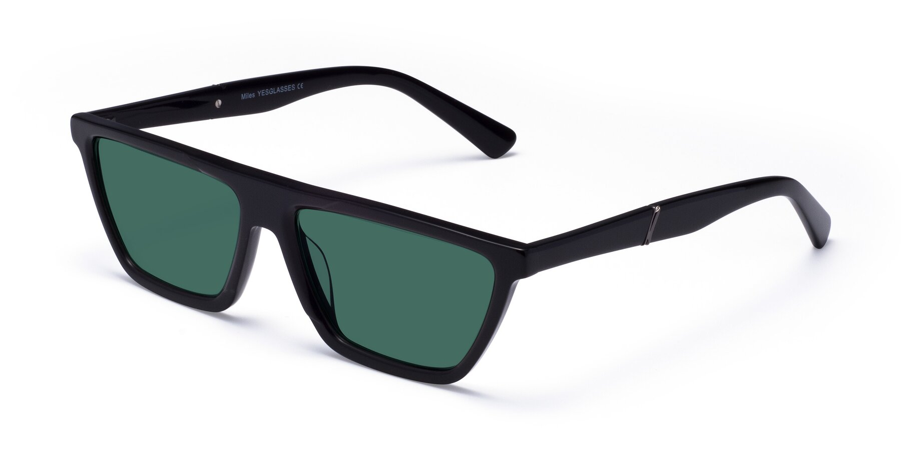Angle of Miles in Black with Green Polarized Lenses