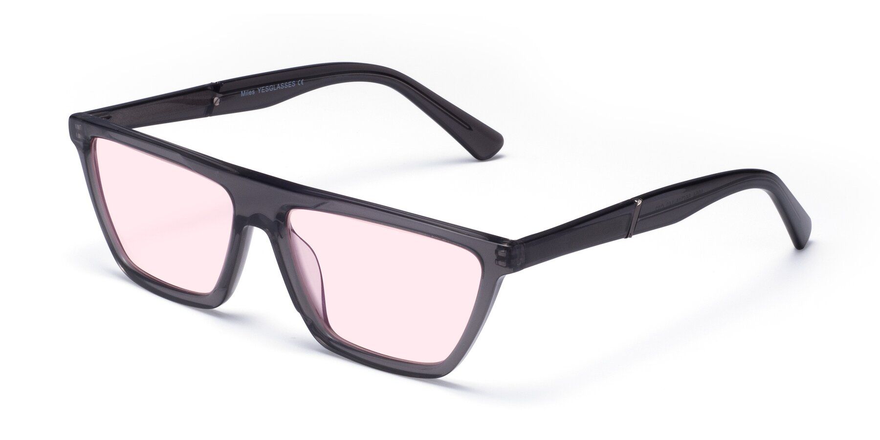 Angle of Miles in Translucent Gray with Light Pink Tinted Lenses