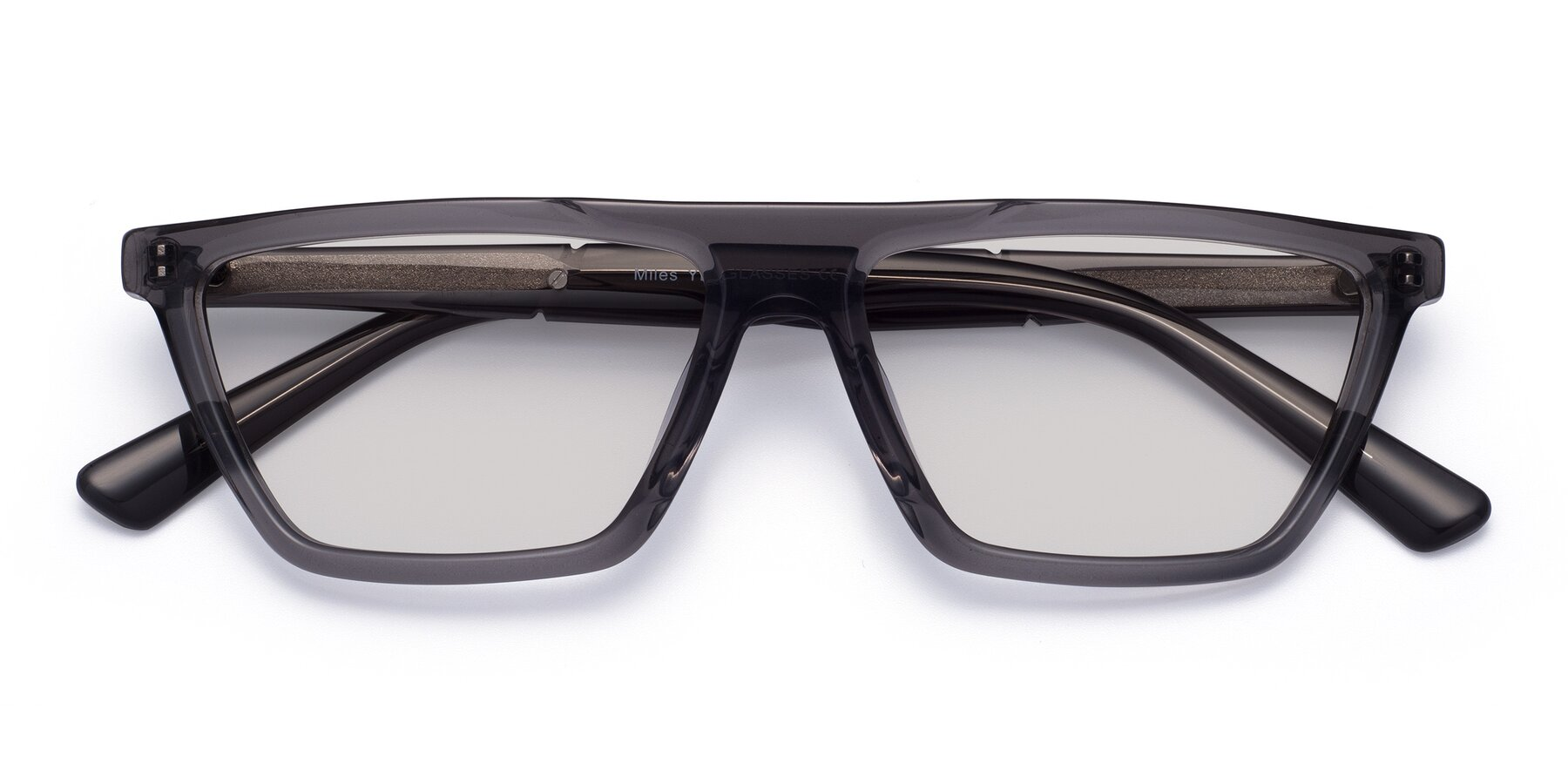 Folded Front of Miles in Translucent Gray with Light Gray Tinted Lenses