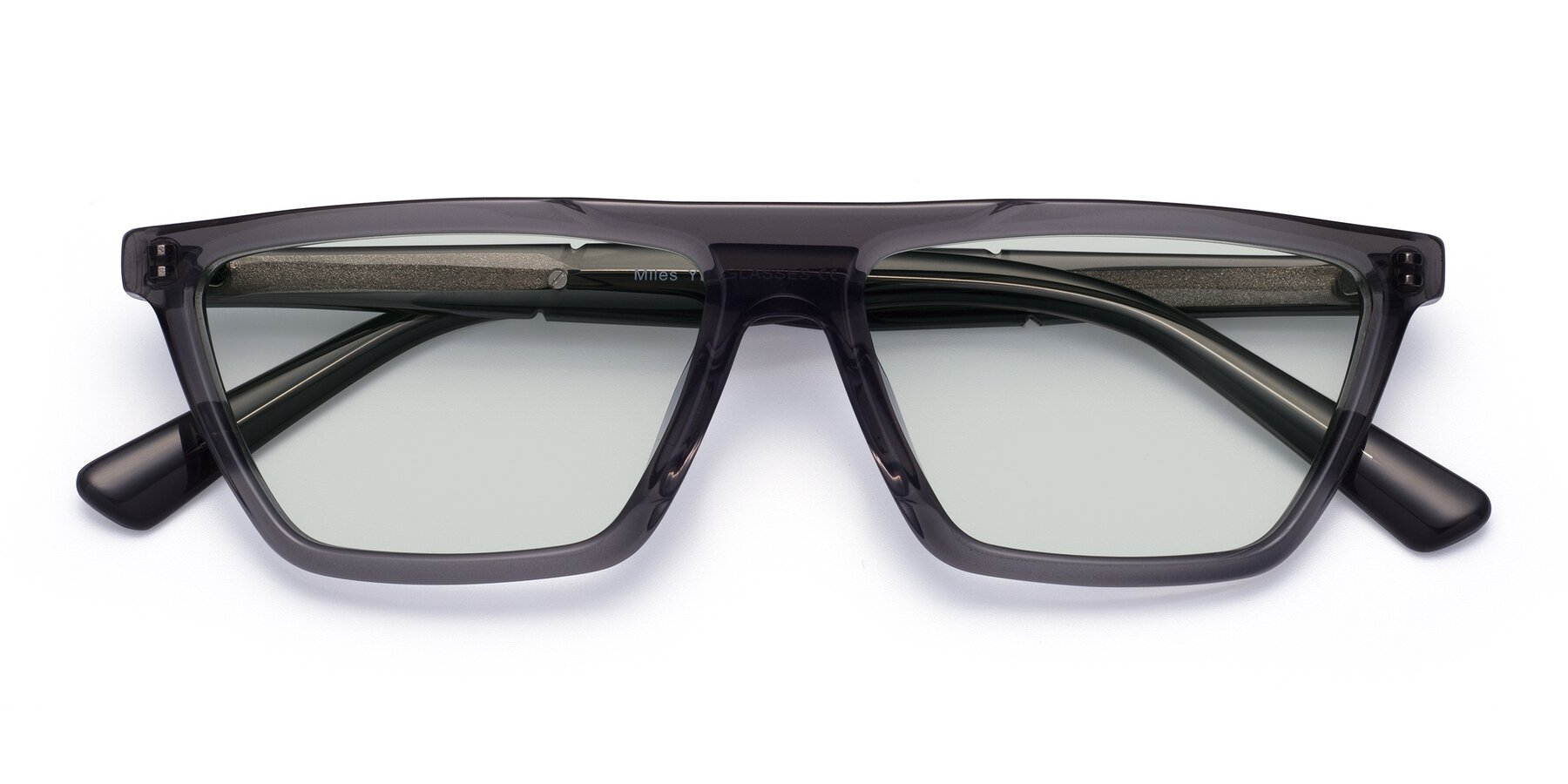 Folded Front of Miles in Translucent Gray with Light Green Tinted Lenses