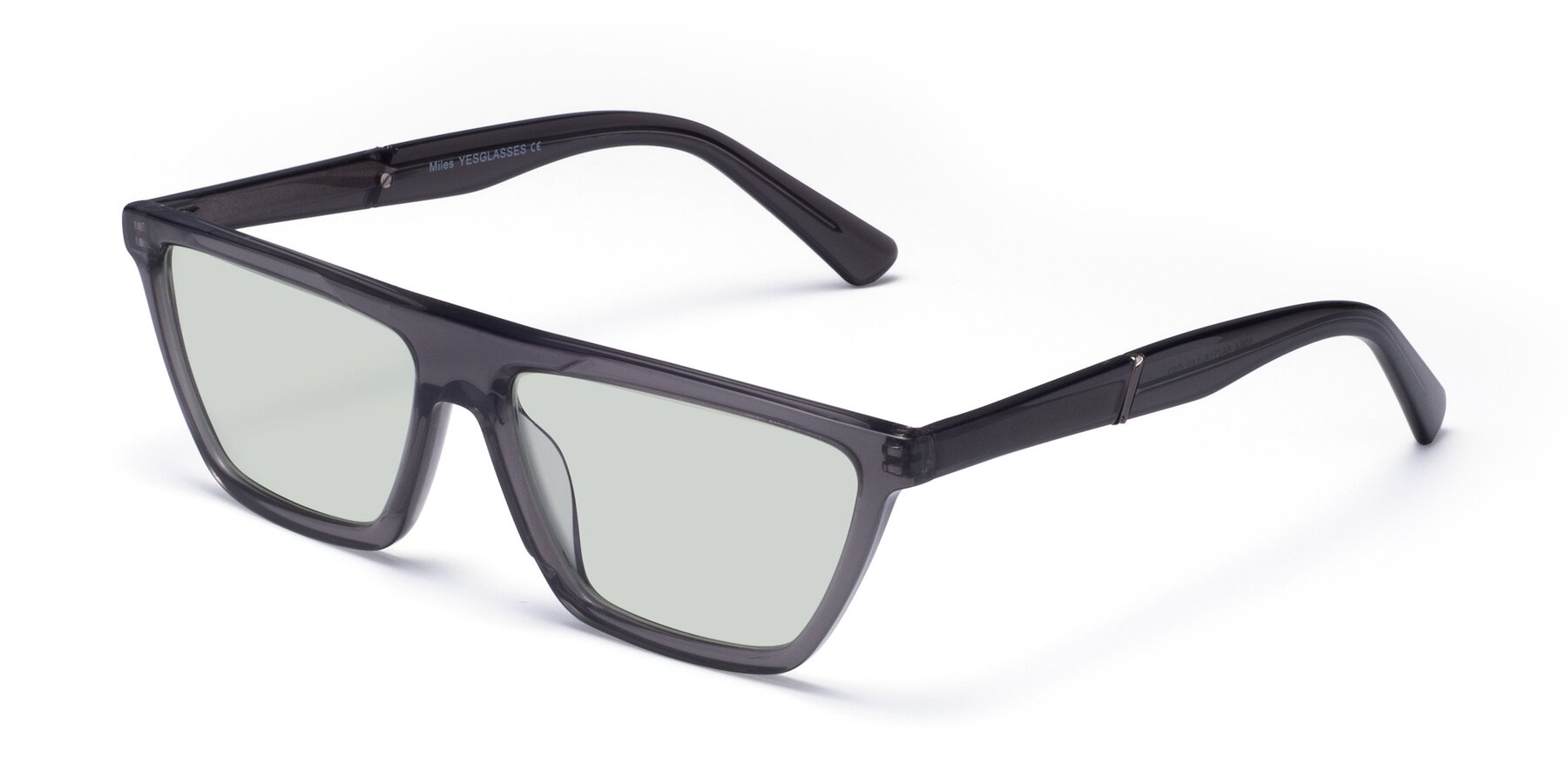 Angle of Miles in Translucent Gray with Light Green Tinted Lenses