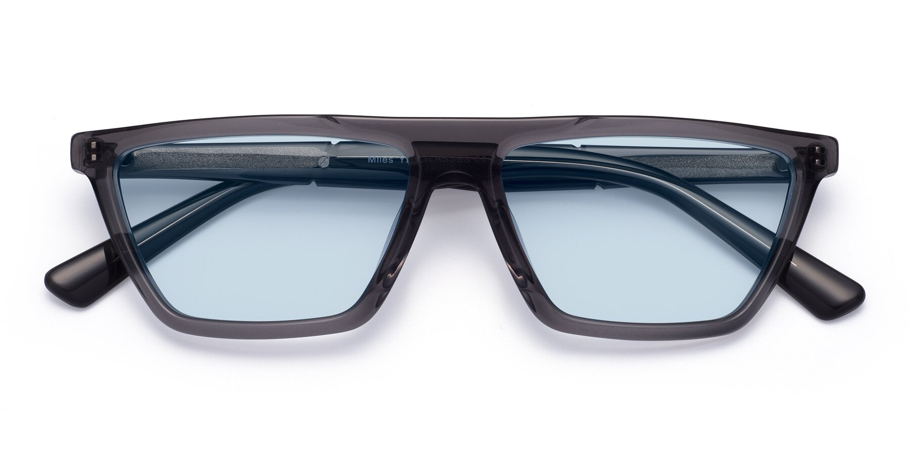 Folded Front of Miles in Translucent Gray with Light Blue Tinted Lenses