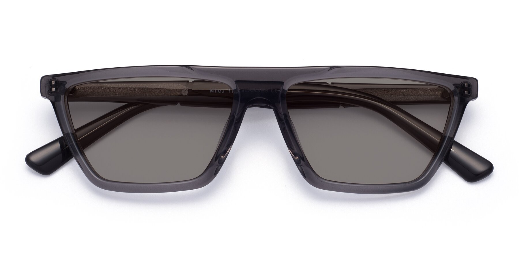 Folded Front of Miles in Translucent Gray with Medium Gray Tinted Lenses