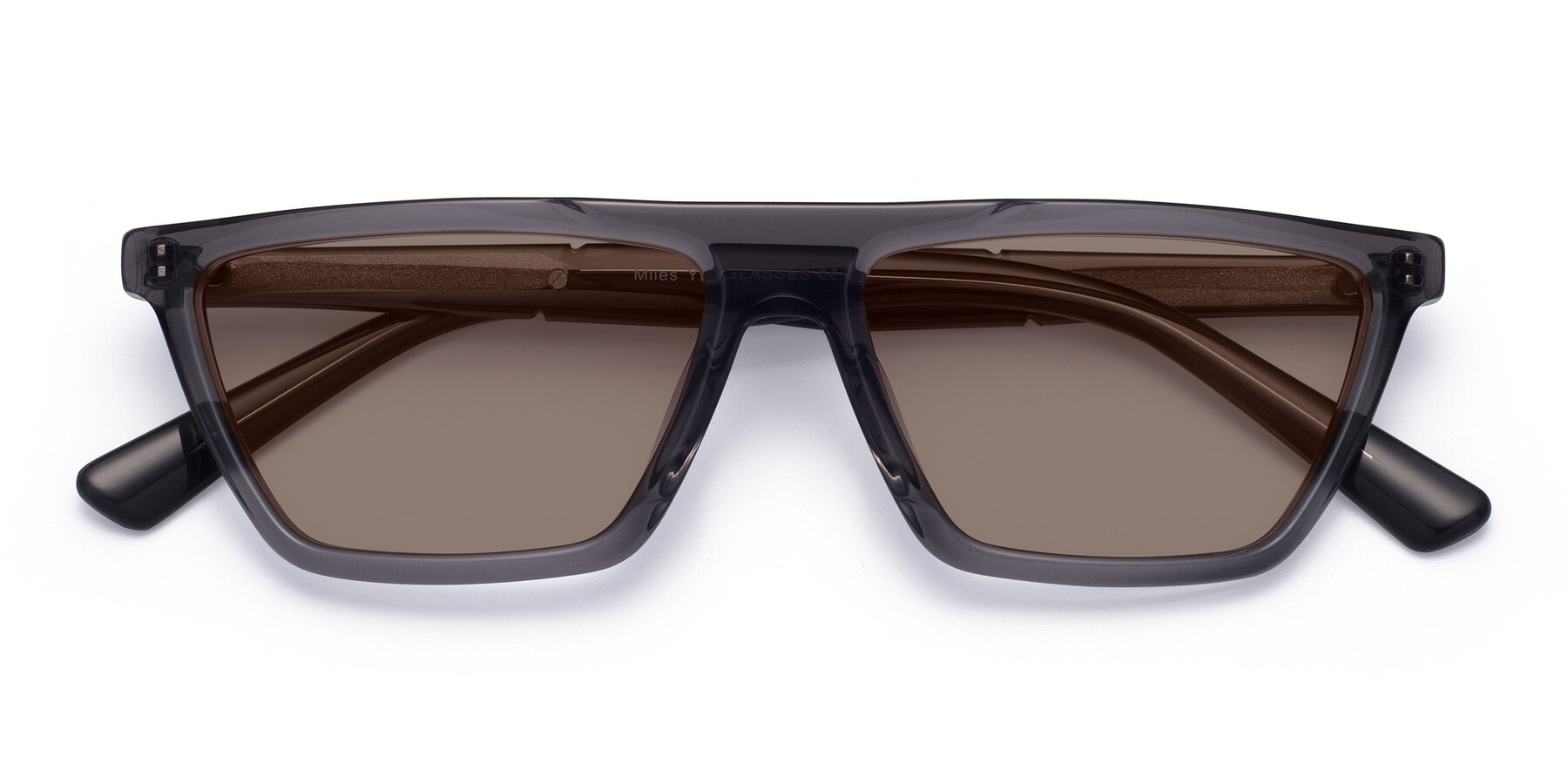 Folded Front of Miles in Translucent Gray with Medium Brown Tinted Lenses