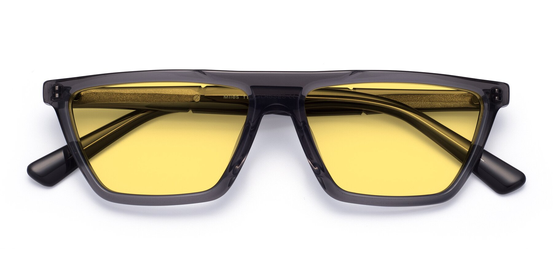 Folded Front of Miles in Translucent Gray with Medium Yellow Tinted Lenses