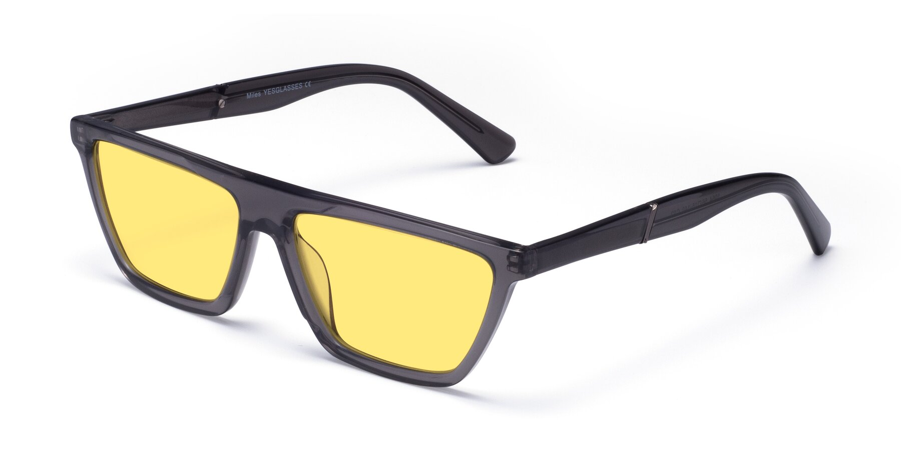 Angle of Miles in Translucent Gray with Medium Yellow Tinted Lenses