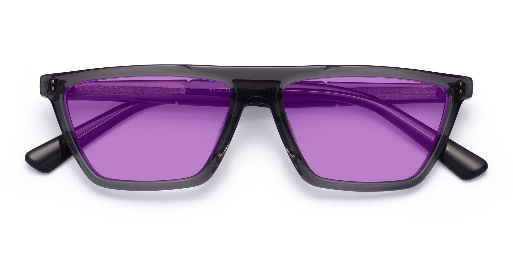 Folded Front of Miles in Translucent Gray with Medium Purple Tinted Lenses