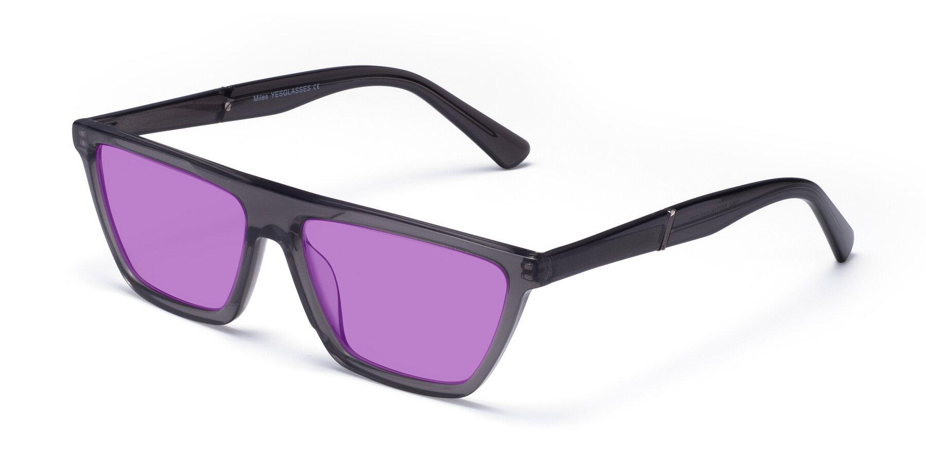 Angle of Miles in Translucent Gray with Medium Purple Tinted Lenses
