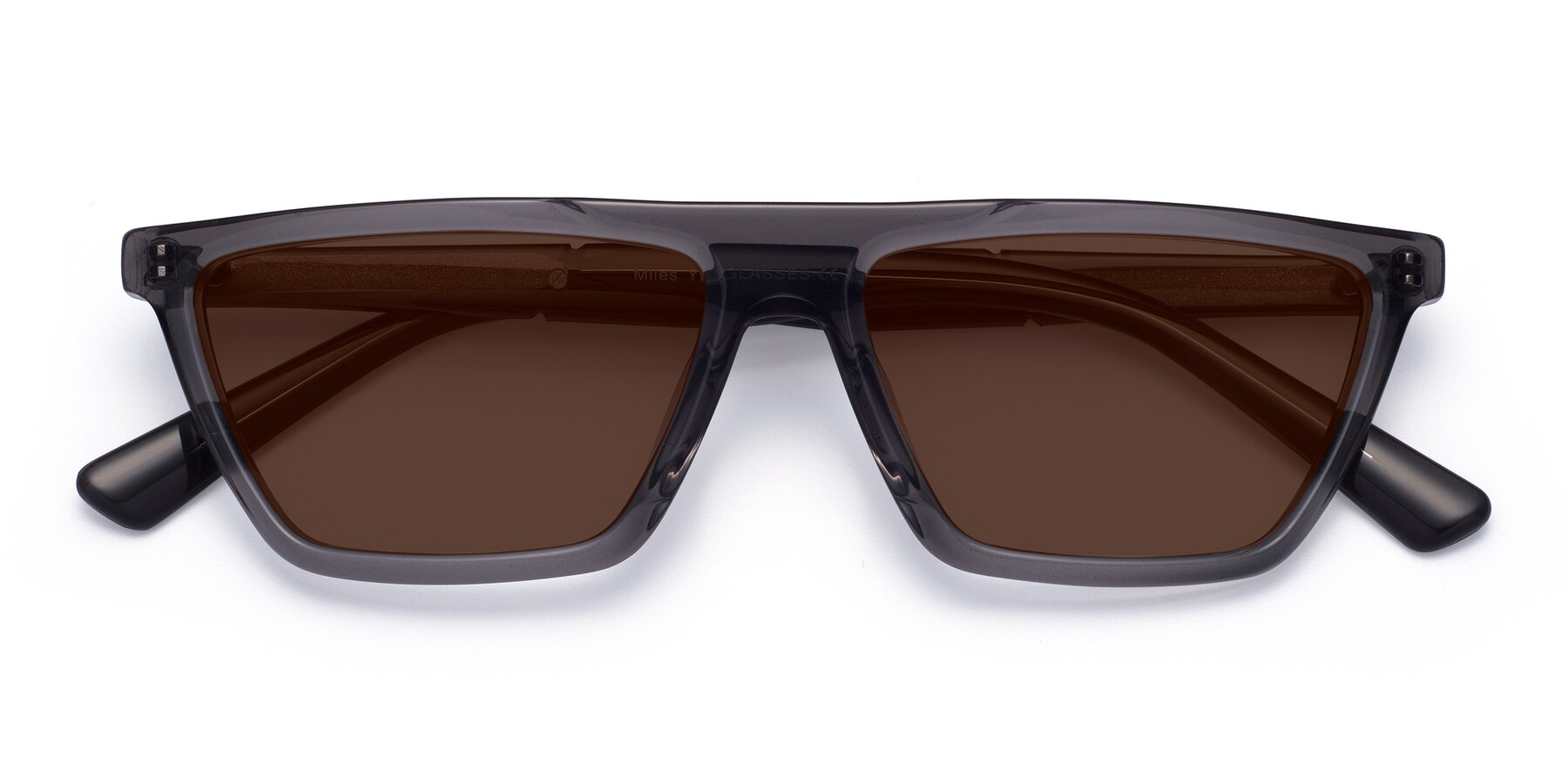 Folded Front of Miles in Translucent Gray with Brown Tinted Lenses
