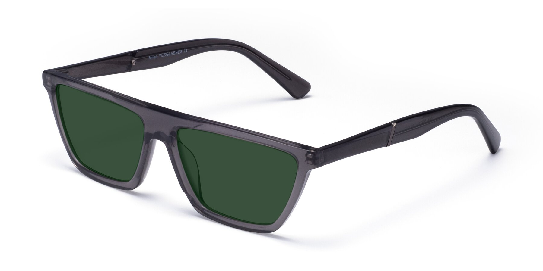 Angle of Miles in Translucent Gray with Green Tinted Lenses