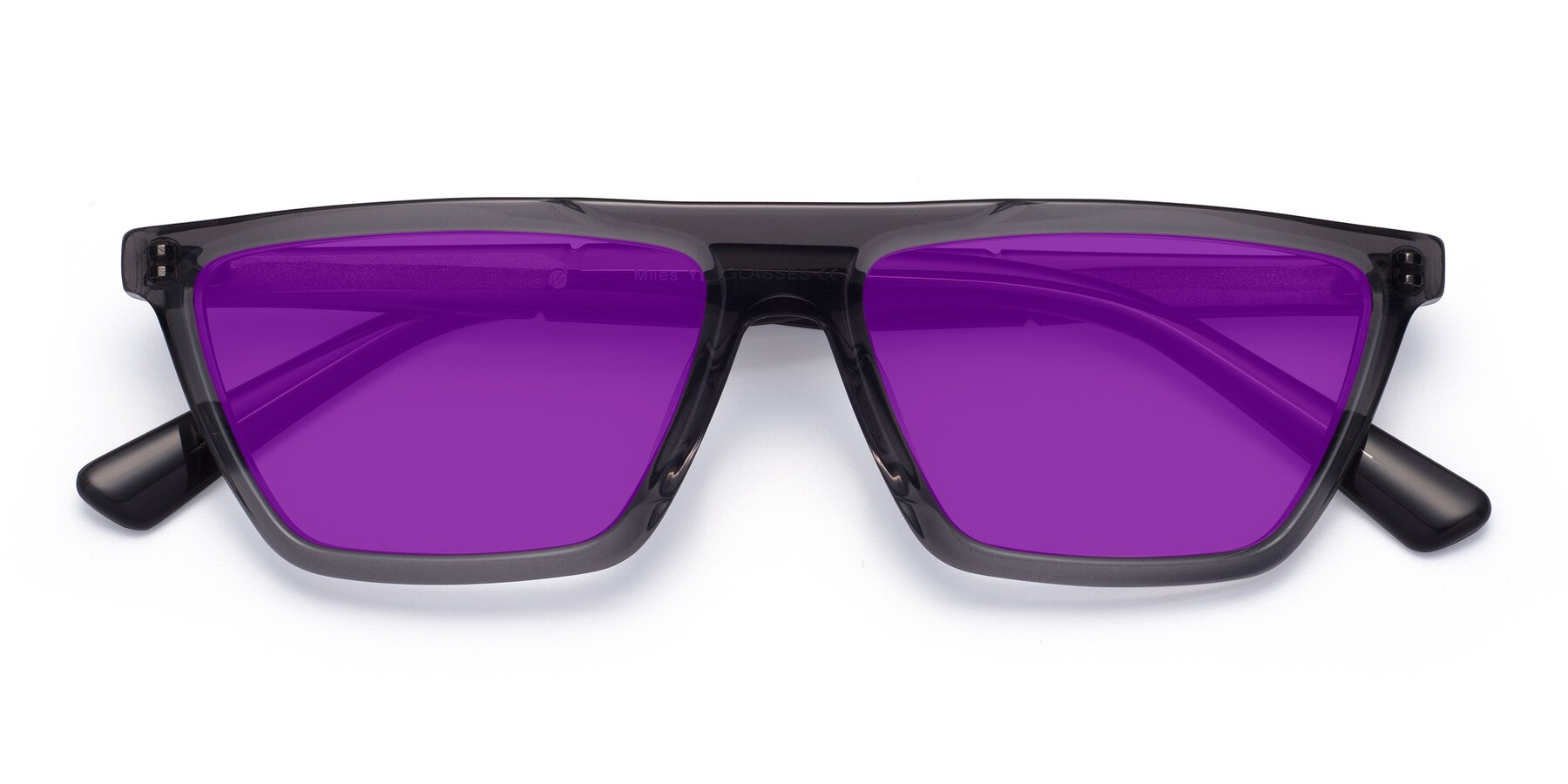 Folded Front of Miles in Translucent Gray with Purple Tinted Lenses
