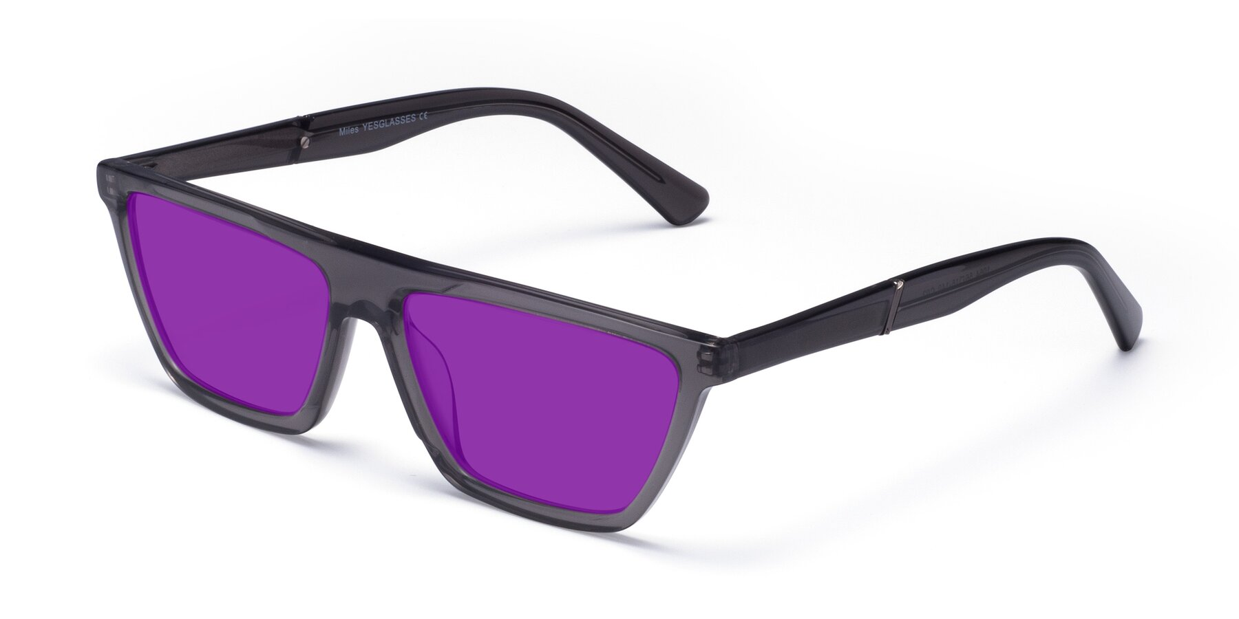 Angle of Miles in Translucent Gray with Purple Tinted Lenses
