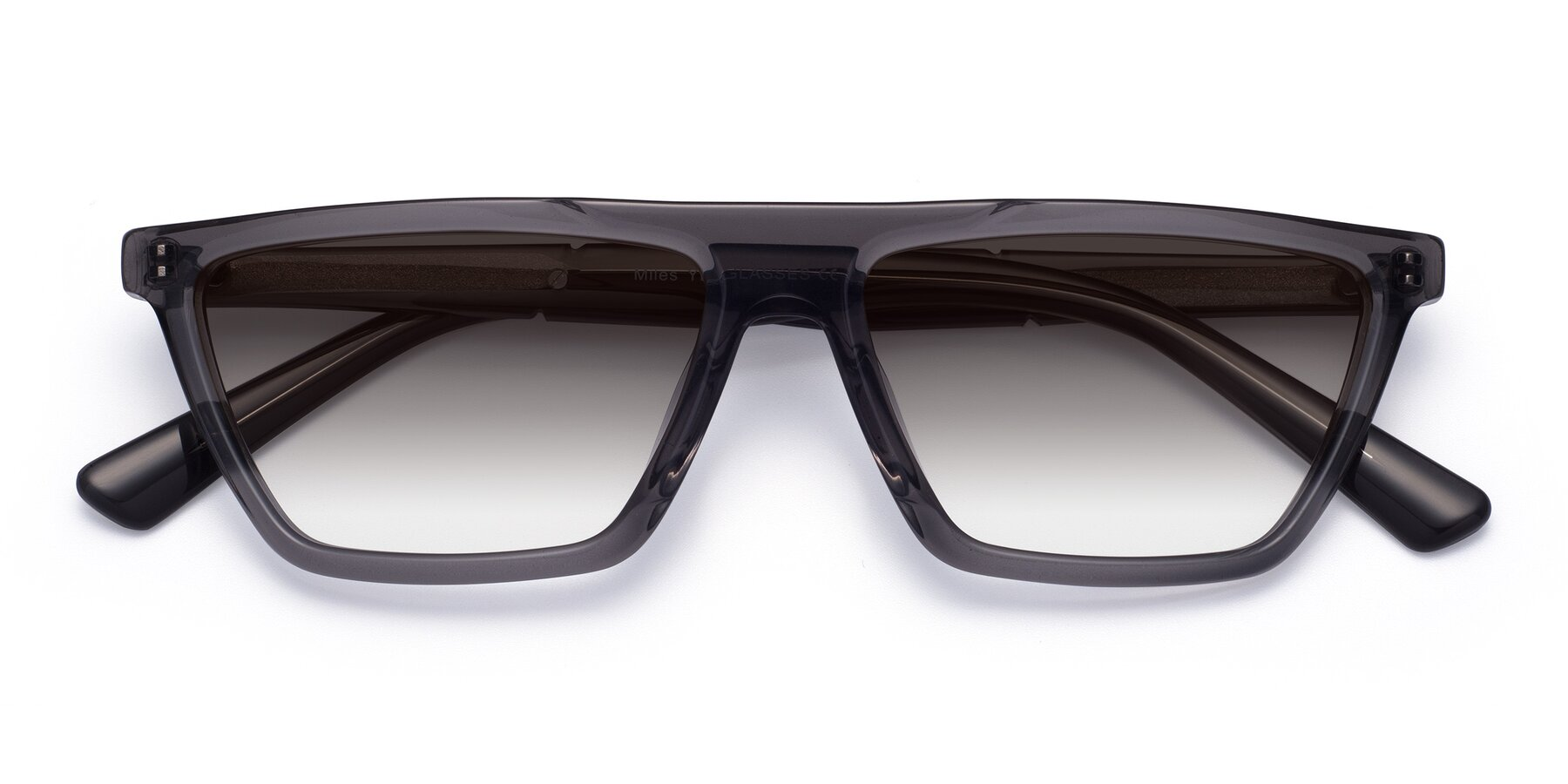 Folded Front of Miles in Translucent Gray with Gray Gradient Lenses
