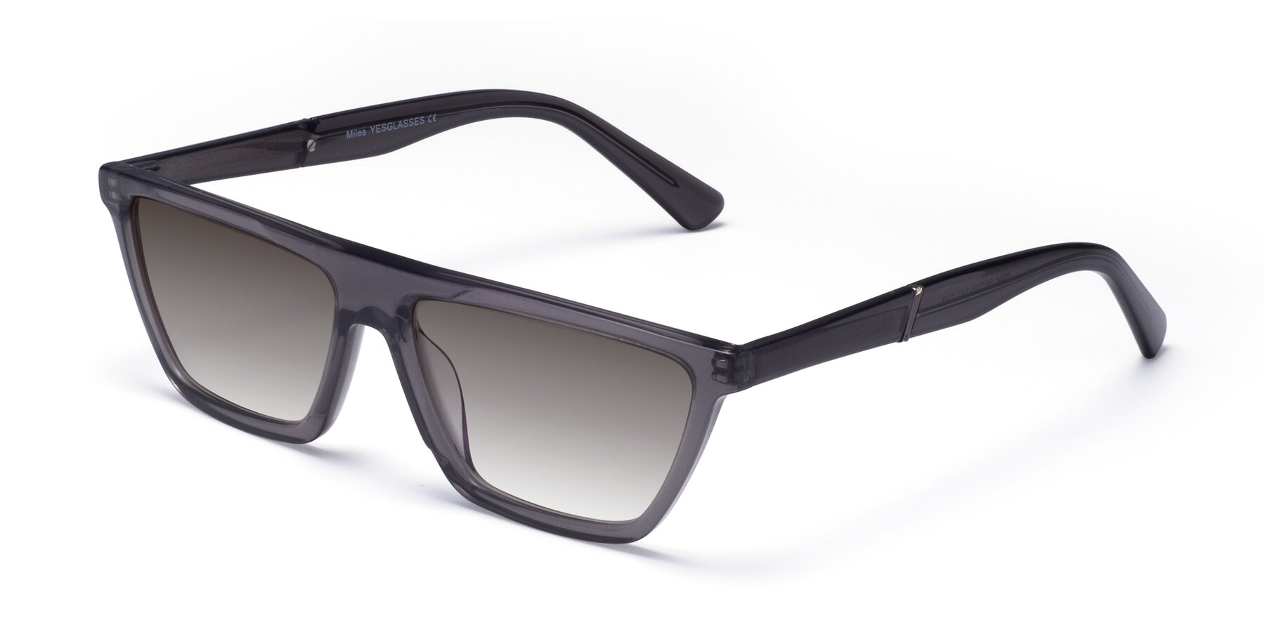 Angle of Miles in Translucent Gray with Gray Gradient Lenses