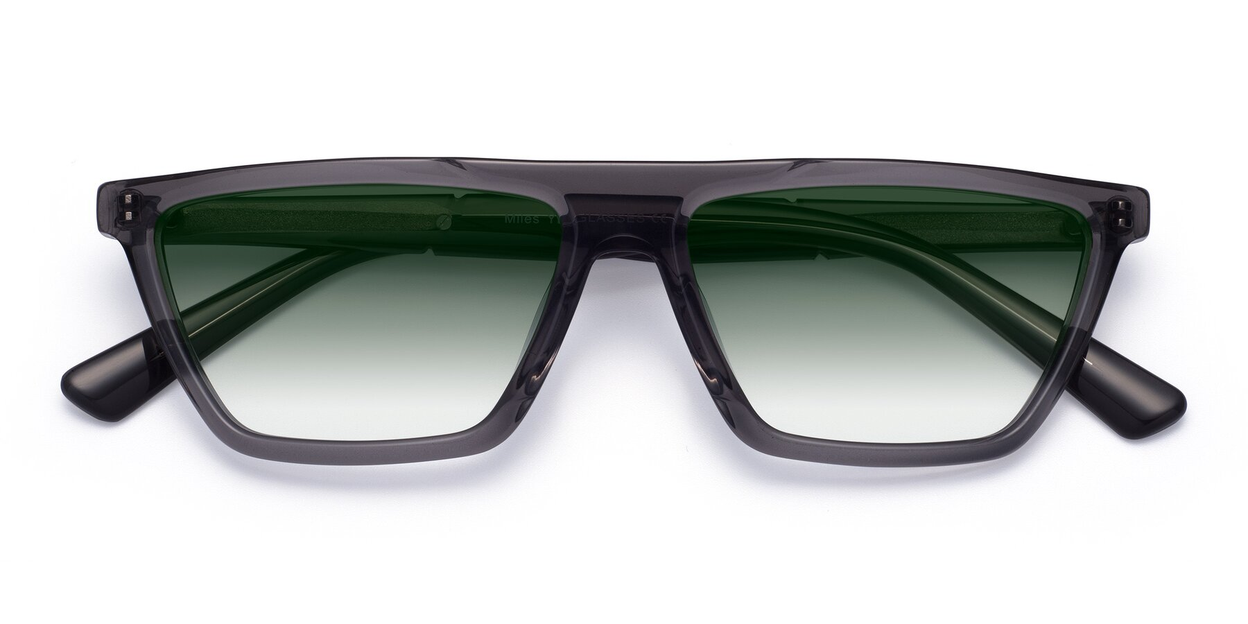 Folded Front of Miles in Translucent Gray with Green Gradient Lenses