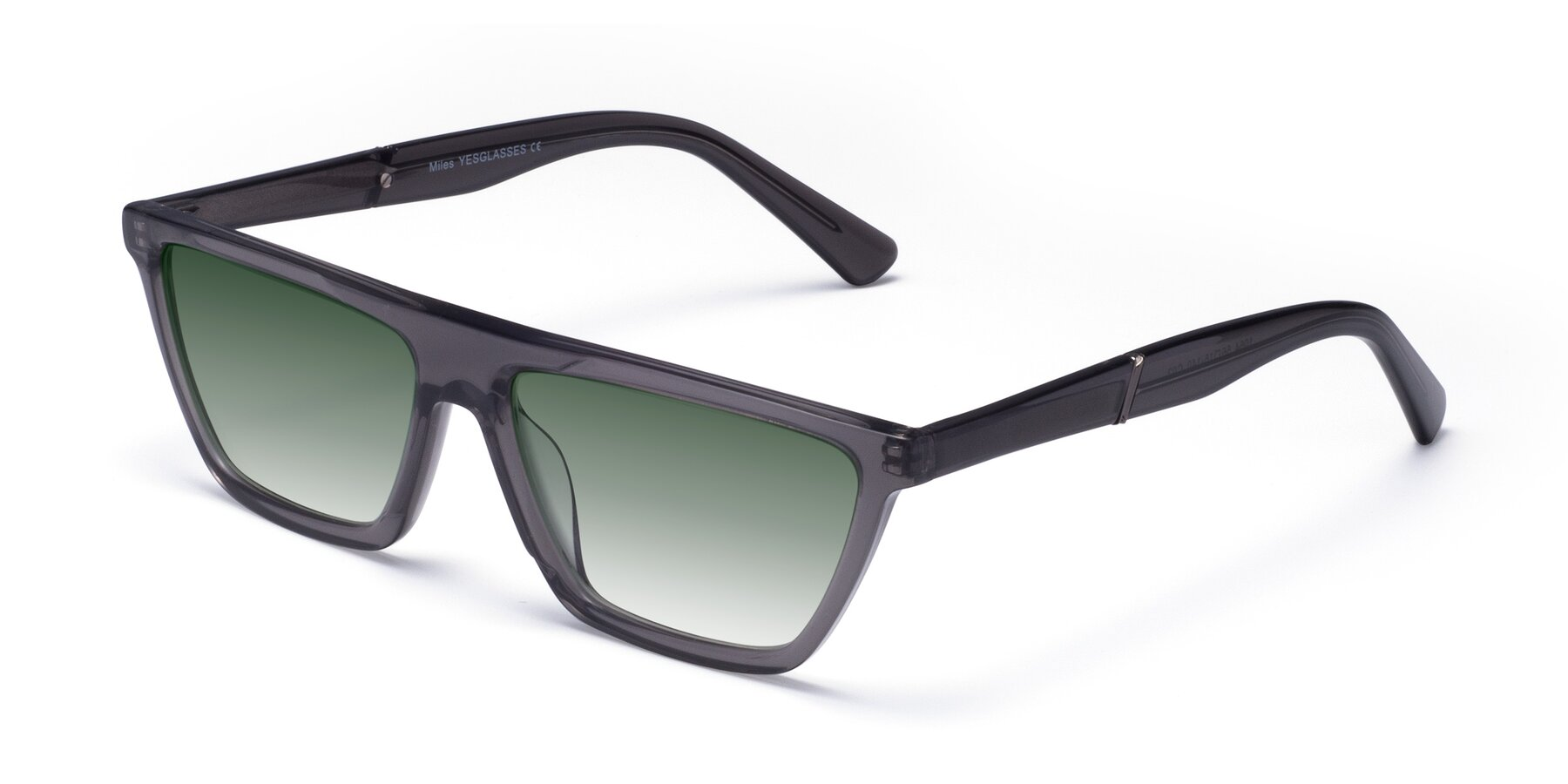 Angle of Miles in Translucent Gray with Green Gradient Lenses