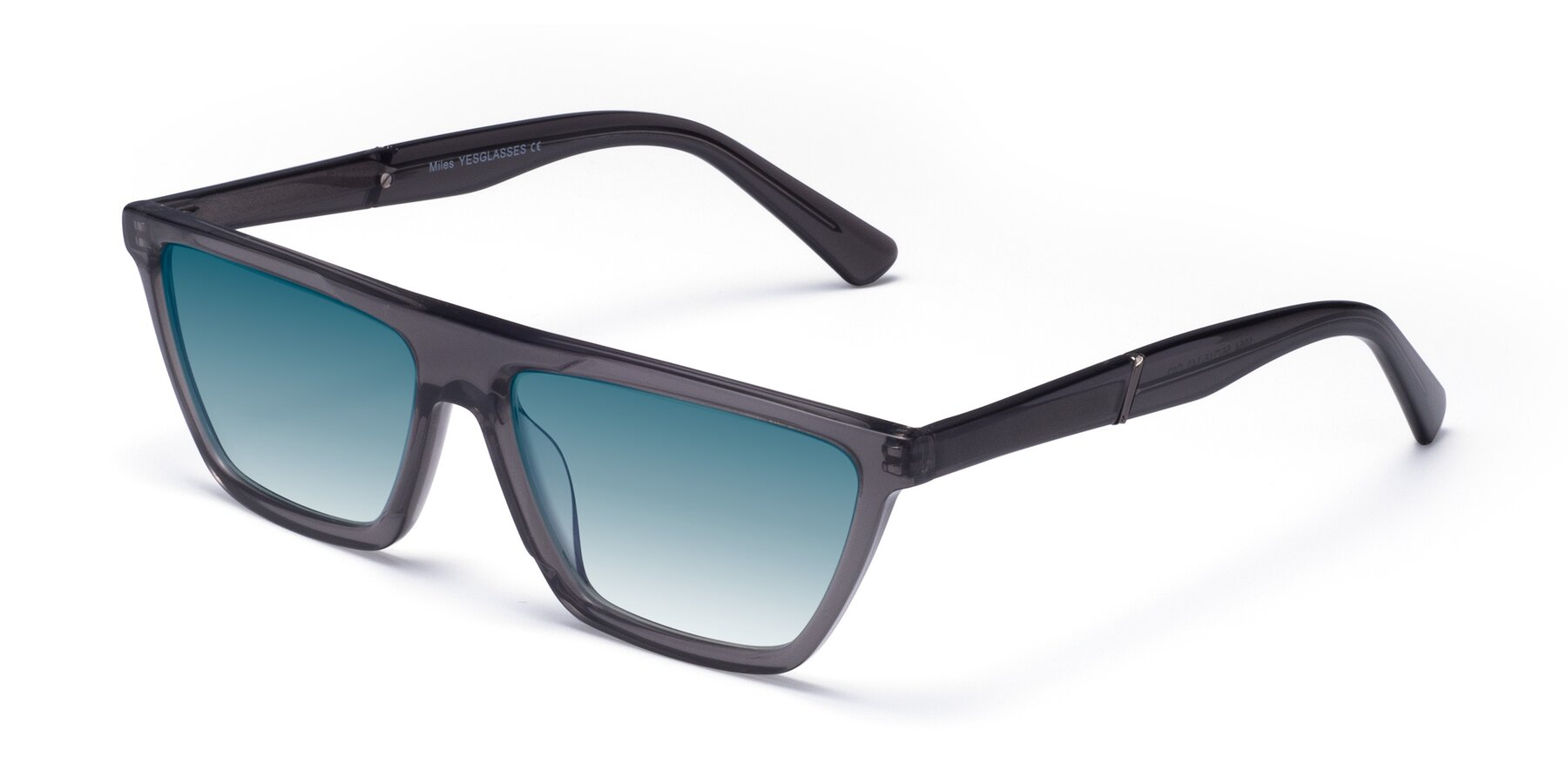 Angle of Miles in Translucent Gray with Blue Gradient Lenses