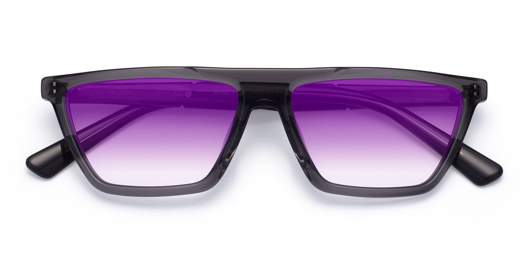 Folded Front of Miles in Translucent Gray with Purple Gradient Lenses