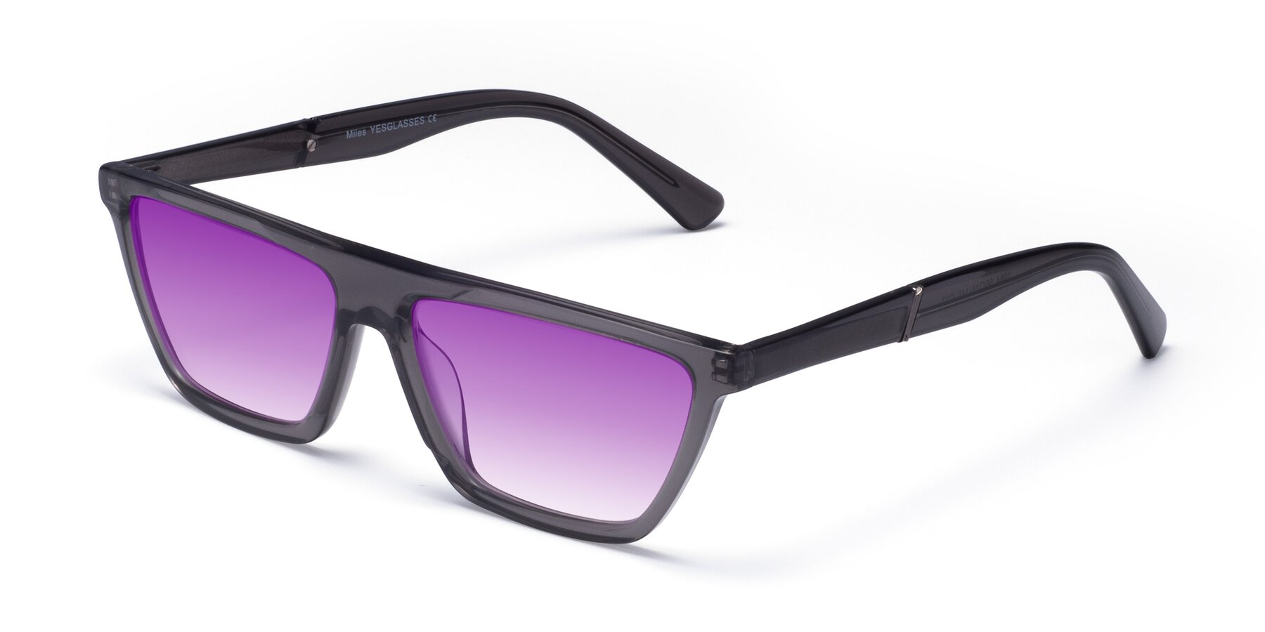 Angle of Miles in Translucent Gray with Purple Gradient Lenses