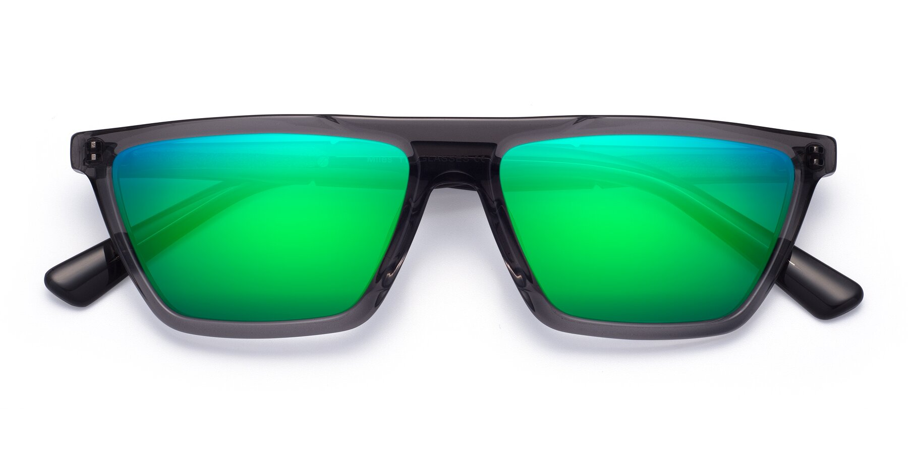 Folded Front of Miles in Translucent Gray with Green Mirrored Lenses