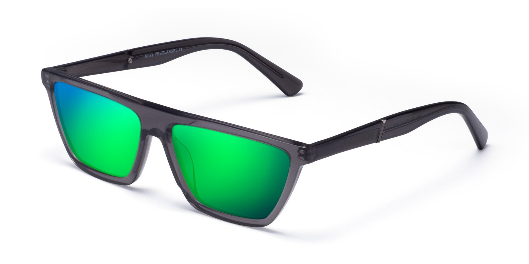 Angle of Miles in Translucent Gray with Green Mirrored Lenses